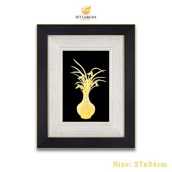 Địa chỉ cung cấp tranh lọ hoa dát vàng chất lượng cao1