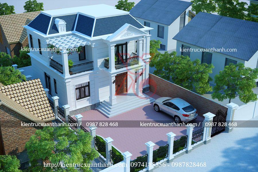 Giải pháp thiết kế nhà biệt thự 2 tầng đẹp với diện tích đất hẹp.